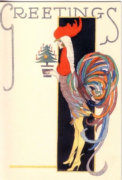 'Christmas Elegance' Vintage Fashion Christmas Card Repro