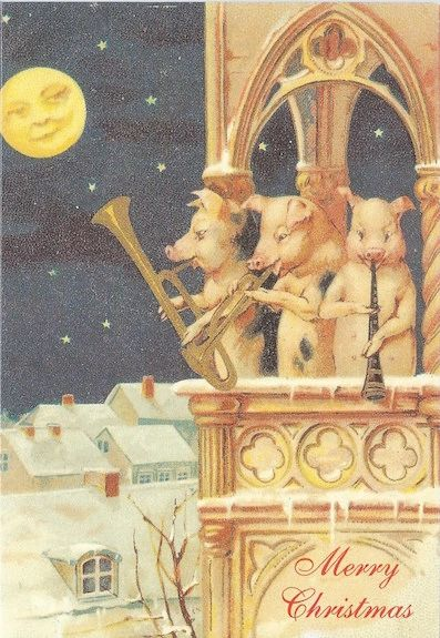 The Christmas Trio Vintage Pig Christmas Illustration Greeting Card