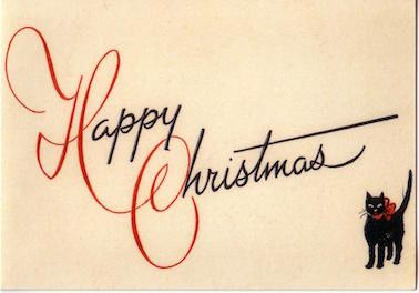 'Happy Christmas' Classic Vintage Black Cat Christmas Card Repro