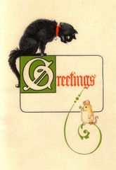 'Christmas Greetings' Classic Vintage Black Cat (and mouse!) Christmas Card Repro