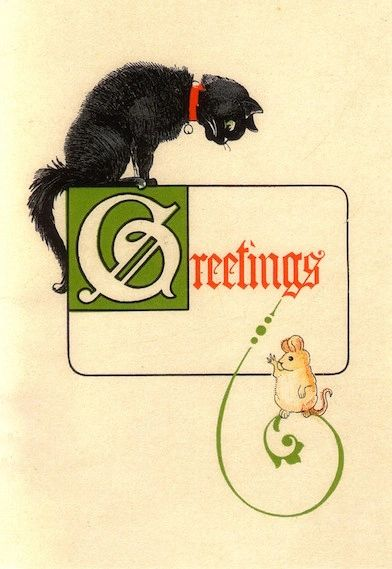 Christmas Greetings Classic Vintage Black Cat (and mouse!) Christmas Card Repro
