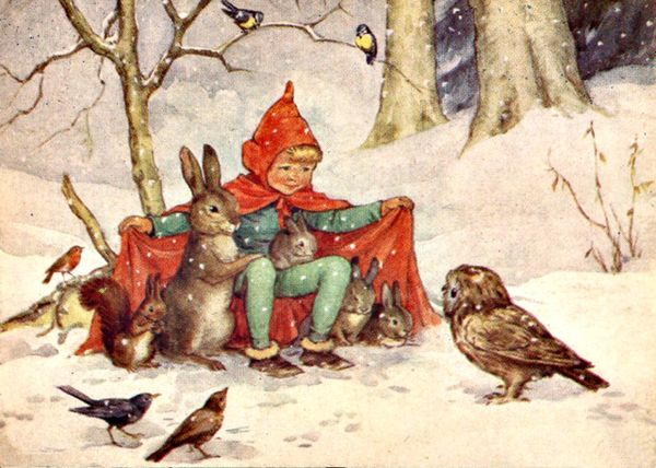 'Room For Everyone' Lovely Christmas Card of Child Sheltering Woodland Friends