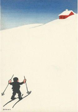 'Cross Country' Scandinavian Vintage Christmas Card