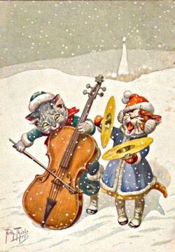 'A Christmas Noise' Fun Cat Christmas Card featuring an Illustration by Arthur Thiele