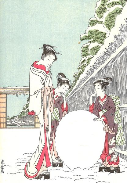 'Start of a Snowman' Classic Vintage Japanese Scene Christmas Card