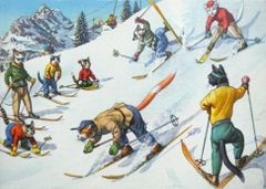 'Cats On The Slopes' Fun Vintage Cat Christmas Card Repro