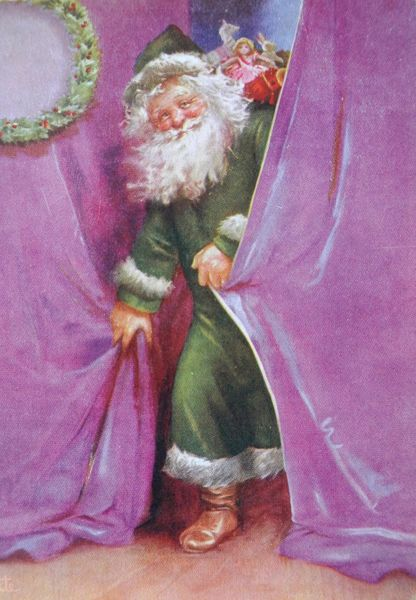 'Santa In Green' Christmas Card with an Alternative Father Christmas. Lovely!