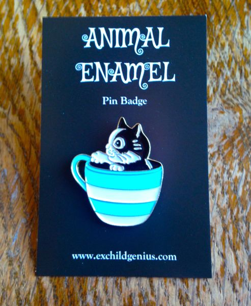 Kitten in a Teacup! Enamel Pin Badge of Cute Cat in a Teacup. Inspired by Louis Wain.