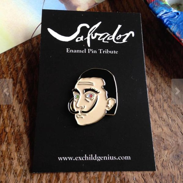 Salvador Dali Enamel Pin Badge. Fantastic Full Colour Bronze Metal Pin.