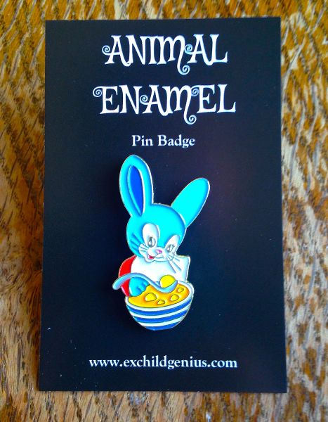 Bunny Loves Dumpling Soup! Soup-er Cute Pin Badge by Ex Child Genius
