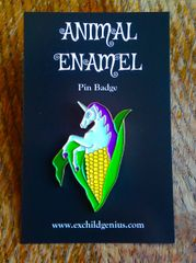 UniCORN! Enamel Pin Badge of a Unicorn Emerging from a Cob of Corn.