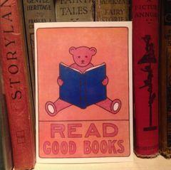 'Read Good Books' Vintage Illustration Greeting Card