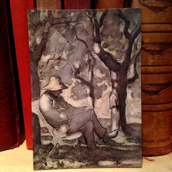 'A Man Reading in His Garden' Daumier Illustration Greeting Card. Perfect for Fathers Day