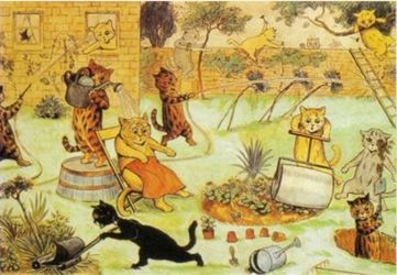 The Gardeners. Louis Wain Illustration Greeting Card.