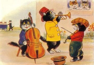 The Street Musicians. Fun Vintage Illustration Greeting Card. Black Cat Trio.