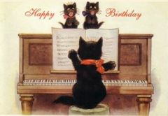 The Birthday Song. Happy Birthday Card with Black Cats at the Piano.