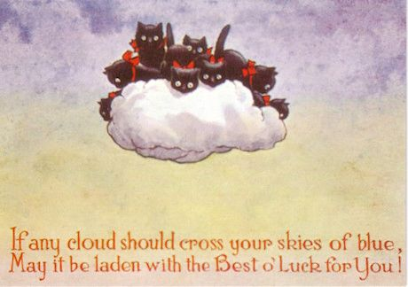 The Best of Luck. Vintage Illustration Black Cat Greeting Card