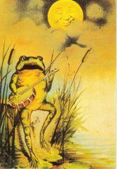 Frog Serenade. Vintage Frog Illustration Greeting Card