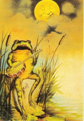 Frog Serenade. Vintage Frog Illustration Greeting Card