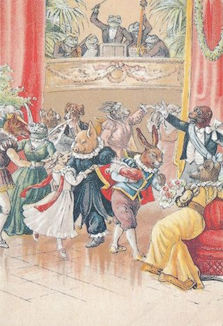 'The Party' Vintage Animal Ball Illustration Greeting Card.