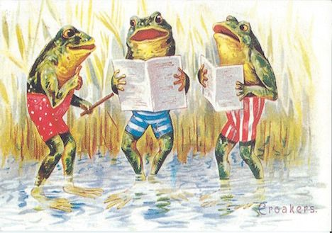 The Croakers. Vintage Frog Illustration Greeting Card. Frog Chorus.