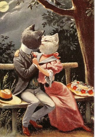 'The Kiss' Romantic Card of Two Cats Kissing.