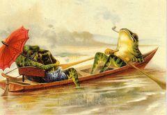 The Red Parasol. Vintage Frog Illustration Greeting Card.