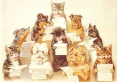 The Cat and Dog Chorus Victorian Illustration Greeting Card.