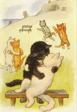 Love is in the Air. Edwardian Illustration Romantic Cat Card.
