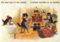 The Bad Boy of the Family. Fun Vintage Black Cat Illustration Greeting Card.
