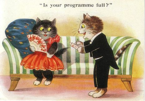 £1 Card!!! 'Is Your Programme Free' Vintage Cat Illustration Greeting Card.