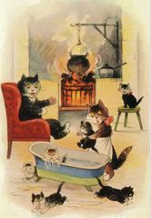 £1 Card!!! 'The Weekly Bath' Vintage Black Cat Illustration Greeting Card.