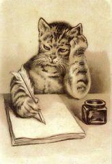 Thinking Of You. Edwardian Illustration Cat Card.
