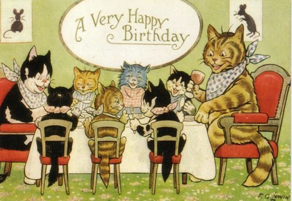 The Birthday Party. Vintage Cat Family Illustration Greeting Card.