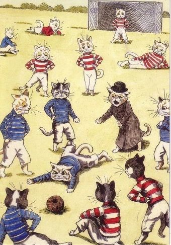 The Match. Louis Wain Football Illustration Greeting Card.