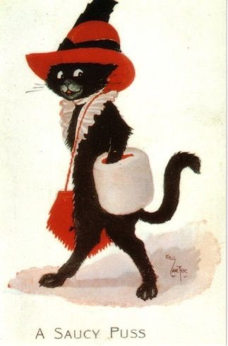 'A Saucy Puss' Vintage Black Cat Greeting Card featuring an illustration by Violet Roberts.