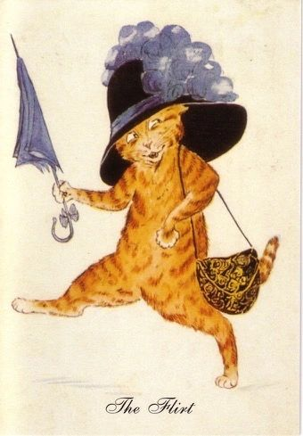 'The Flirt' Vintage Cat Greeting Card featuring an illustration by Violet Roberts.