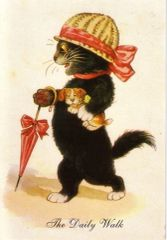 The Daily Walk. Vintage Cat Illustration Greeting Card (with dog!)