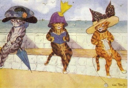 'Three Charming Ladies' Vintage Cat Greeting Card featuring an illustration by Violet Roberts.