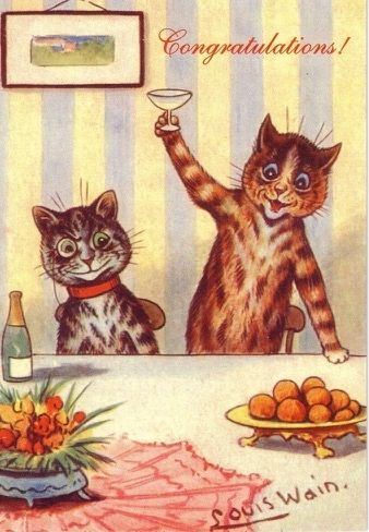 Congratulations! Louis Wain Illustration Celebration Card.