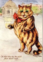 Solid Flesh. Vintage Fat Cat Illustration Greeting Card. Louis Wain.