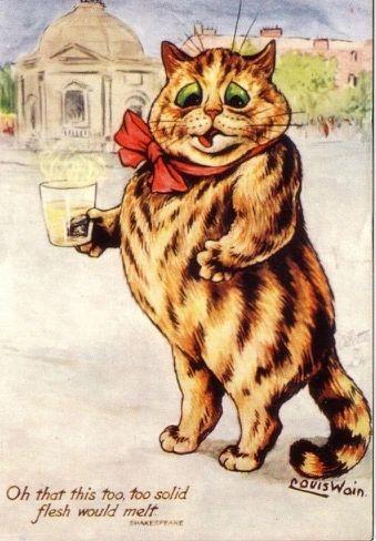 Solid Flesh. Vintage Fat Cat Illustration Greeting Card. Louis Wain.