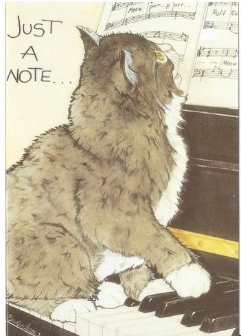 Just a Note. Vintage Cat and Piano Illustration Correspondence Card.