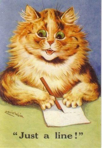 Just a Line. Vintage Cat Illustration Correspondence Card. Louis Wain.