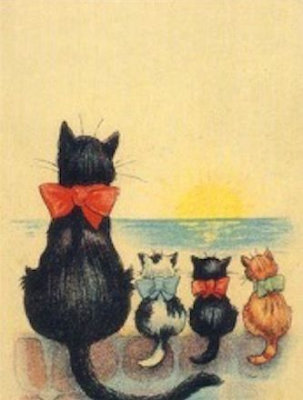 Waiting and Watching. Vintage Black Cat Greeting Card. Apt for Condolence or Bereavement.