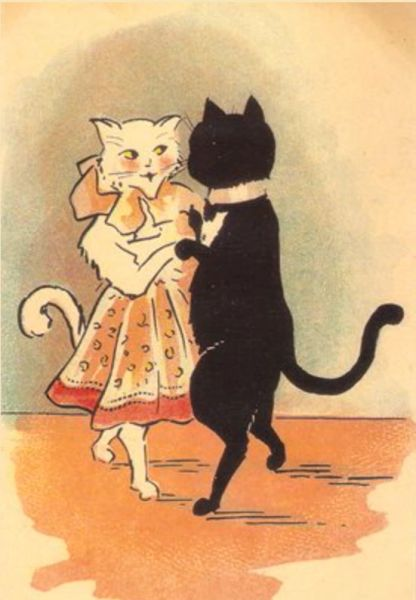 A Playful Glance. Vintage Cat Greeting Card. Perfect for Engagement or Valentines Day.
