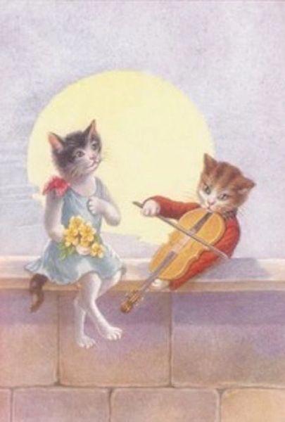 Moonlight Serenade. Vintage Romantic Illustration Greeting Card. Courting Cats.