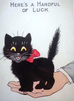 A Handful of Luck. Vintage Black Cat Good Luck Card.