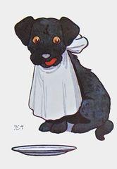 Now I'm Ready. Cute Dog Vintage Illustration Greeting Card.