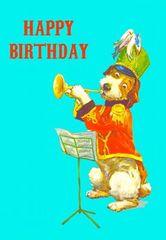 Happy Birthday Dog Vintage Illustration Greeting Card.